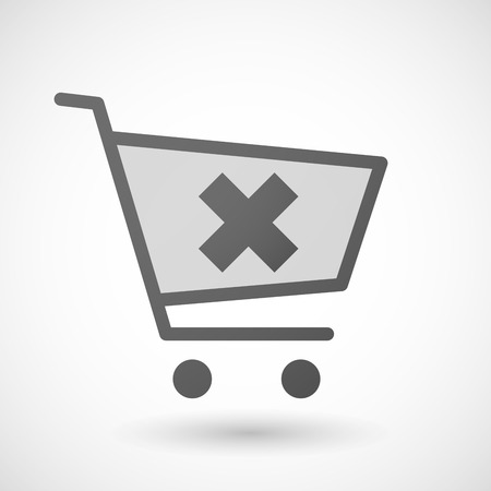 rejection: Illustration of an isolated shopping cart icon with an x sign