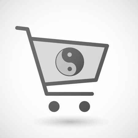 karma graphics: Illustration of an isolated shopping cart icon with a ying yang Illustration