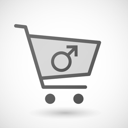 andropause: Illustration of an isolated shopping cart icon with a male sign Illustration