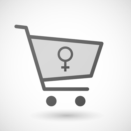 femal: Illustration of an isolated shopping cart icon with a female sign
