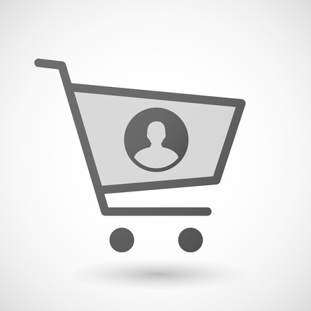 Illustration of an isolated shopping cart icon with a male avatar sign Vector