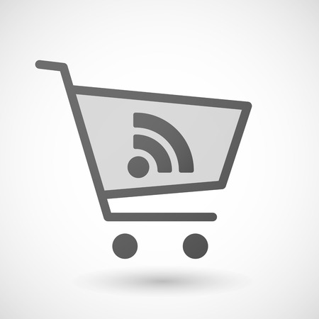 rss sign: Illustration of an isolated shopping cart icon with a RSS sign