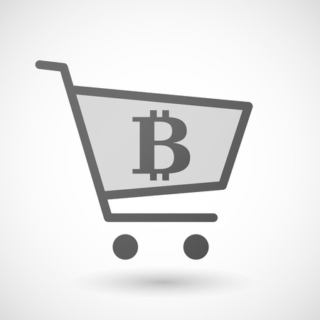 p2p: Illustration of an isolated shopping cart icon with a bitcoin sign