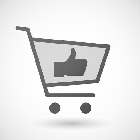 hand cart: Illustration of an isolated shopping cart icon with a thumb hand