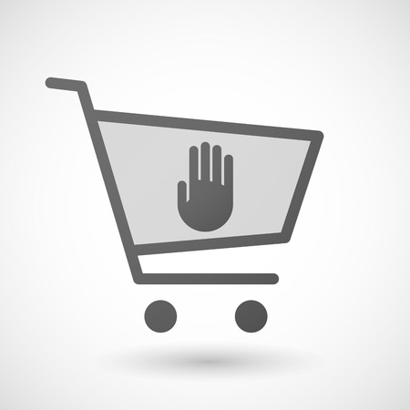 hand cart: Illustration of an isolated shopping cart icon with a hand Illustration