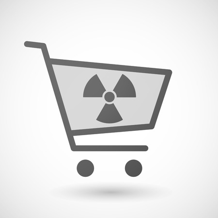 radio activity: Illustration of an isolated shopping cart icon with a radio activity sign Illustration