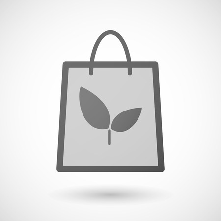 market gardening: Illustration of a shopping bag icon with a plant