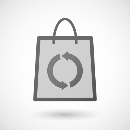 shopping bag icon: Illustration of a shopping bag icon with a recycle sign Illustration