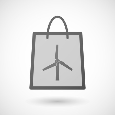 shopping bag icon: Illustration of a shopping bag icon with a wind generator Illustration