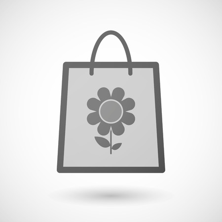 shopping bag icon: Illustration of a shopping bag icon with a flower Illustration