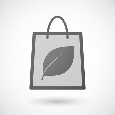 shopping bag icon: Illustration von einer Einkaufstasche Symbol mit einem Blatt