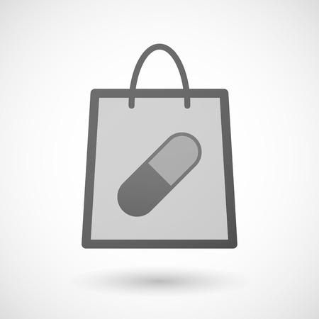 shopping bag icon: Illustration von einer Einkaufstasche Symbol mit einer Pille Illustration