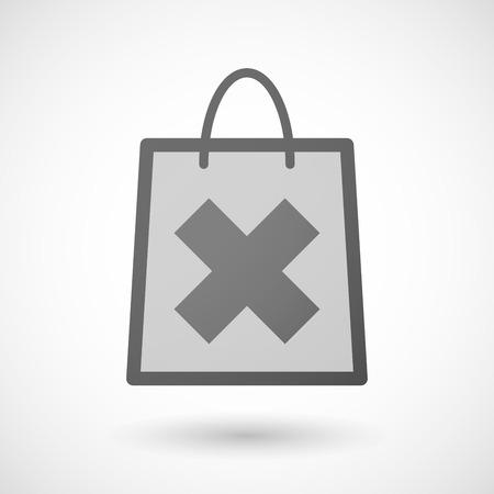"""shopping bag icon: Illustration von einer Einkaufstasche Symbol mit einem """"x"""" Zeichen"""