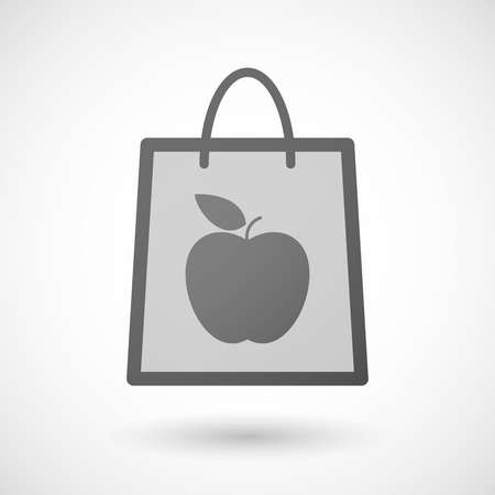 shopping bag icon: Illustration of a shopping bag icon with a fruit