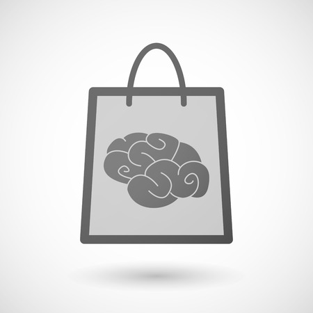 shopping bag icon: Illustration of a shopping bag icon with a brain