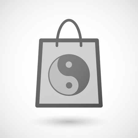 ying: Illustration of a shopping bag icon with a ying yang