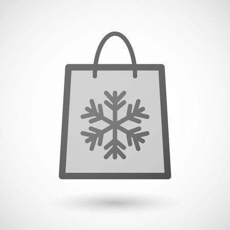 shopping bag icon: Illustration von einer Einkaufstasche Symbol mit einem Schneeflocke Illustration