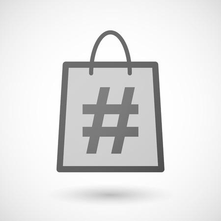 shopping bag icon: Illustration von einer Einkaufstasche Symbol mit einem Hash-Tag