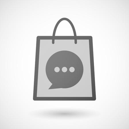 shopping bag icon: Illustration von einer Einkaufstasche Symbol mit einem comic Ballon