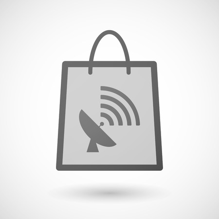 product signal: Illustration of a shopping bag icon with a satellite dish Illustration