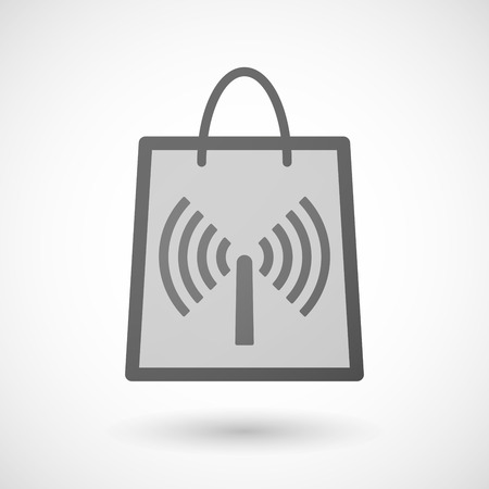 product signal: Illustration of a shopping bag icon with an antenna