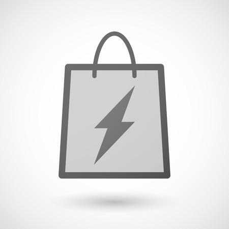 shopping bag icon: Illustration of a shopping bag icon with a lightning Illustration