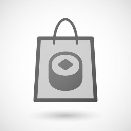 shopping bag icon: Illustration von einer Einkaufstasche Symbol mit einem Sushi- Illustration