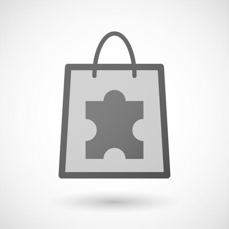 shopping bag icon: Illustration von einer Einkaufstasche Symbol mit einem Puzzle-St�ck