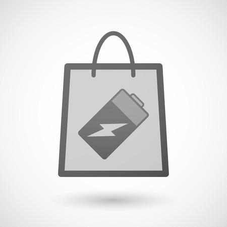 shopping bag icon: Illustration von einer Einkaufstasche Symbol mit einer Batterie