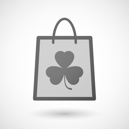 shopping bag icon: Illustration of a shopping bag icon with a clover
