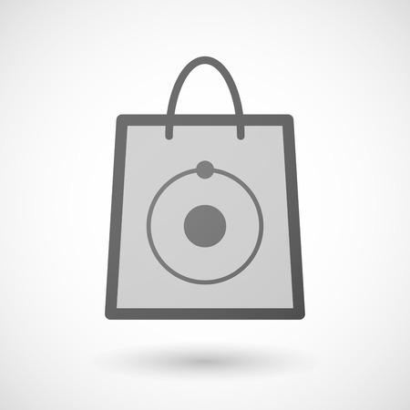 shopping bag icon: Illustration von einer Einkaufstasche Symbol mit einem Atom