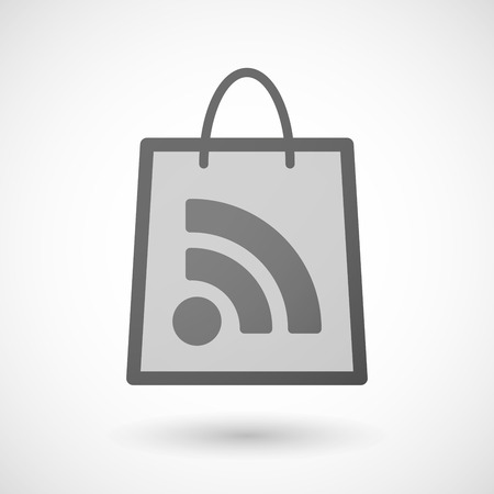 shopping bag icon: Illustration of a shopping bag icon with a RSS sign