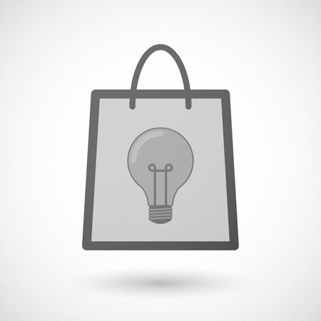 shopping bag icon: Illustration von einer Einkaufstasche Symbol mit einer Gl�hbirne