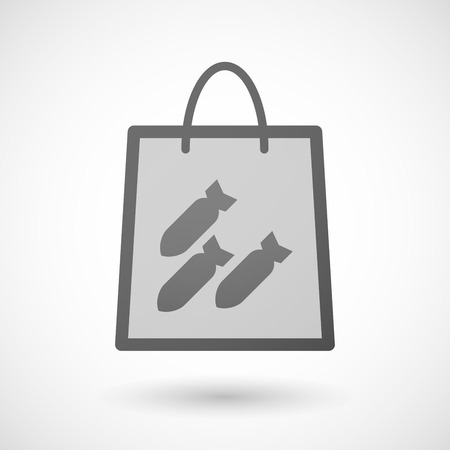 bombs: Illustration of a shopping bag icon with bombs