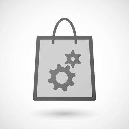 shopping bag icon: Illustration von einer Einkaufstasche Symbol mit Zahnr�dern Illustration