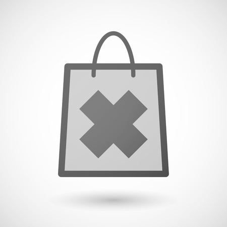 Illustration of a shopping bag icon with an irritating substance sign