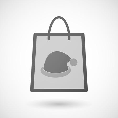 shopping bag icon: Illustration von einer Einkaufstasche Symbol mit einem Sankt-Hut