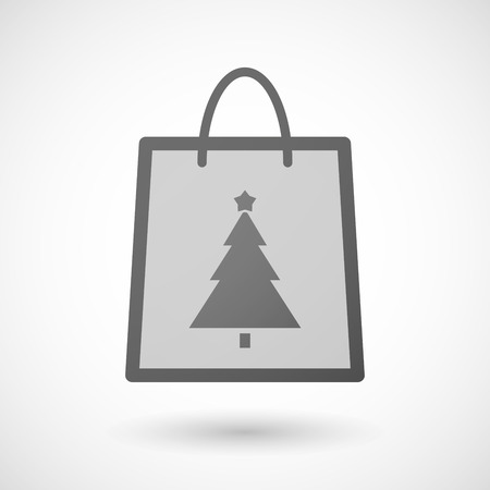 shopping bag icon: Illustration of a shopping bag icon with a christmas tree