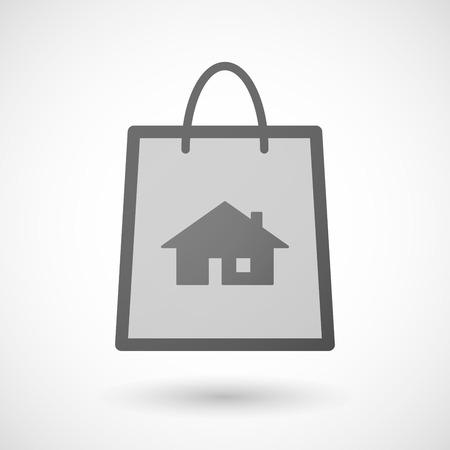 shopping bag icon: Illustration von einer Einkaufstasche Symbol mit einem Haus Illustration