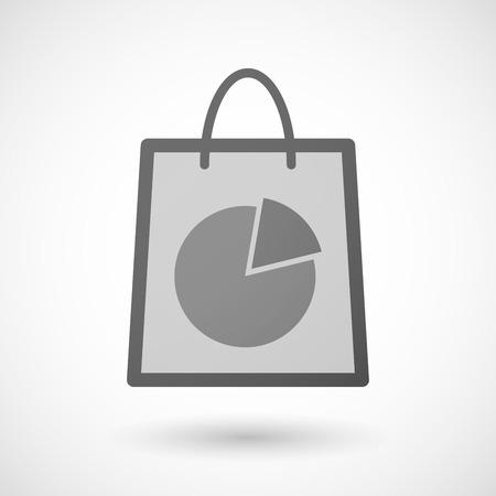 shopping bag icon: Illustration von einer Einkaufstasche Symbol mit einem Kreisdiagramm