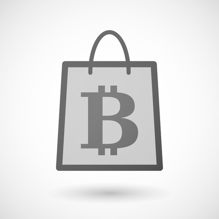 shopping bag icon: Illustration of a shopping bag icon with a bitcoin sign