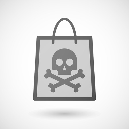 shopping bag icon: Illustration of a shopping bag icon with a skull