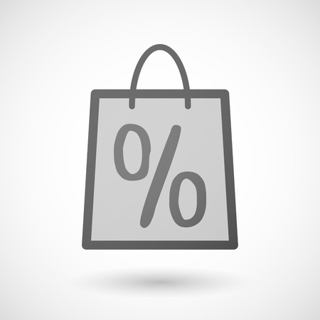 shopping bag icon: Illustration of a shopping bag icon with a discount sign