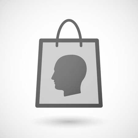 shopping bag icon: Illustration von einer Einkaufstasche Symbol mit einem m�nnlichen Kopf