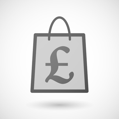shopping bag icon: Illustration of a shopping bag icon with a pound Illustration