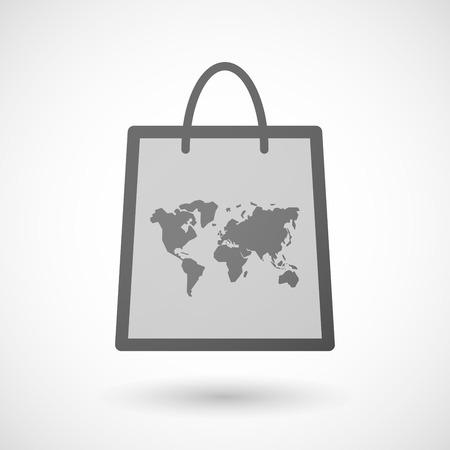 shopping bag icon: Illustration von einer Einkaufstasche Symbol mit einer Weltkarte Illustration