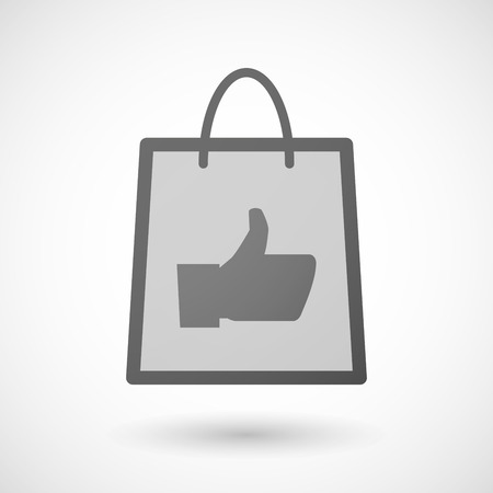 shopping bag icon: Illustration of a shopping bag icon with a thumb hand
