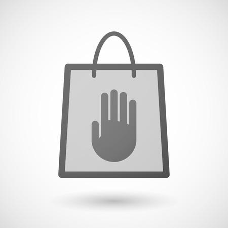 shopping bag icon: Illustration von einer Einkaufstasche Symbol mit einer Hand
