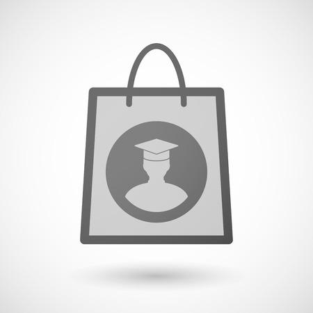 shopping bag icon: Illustration von einer Einkaufstasche Symbol mit einem Sch�ler Illustration