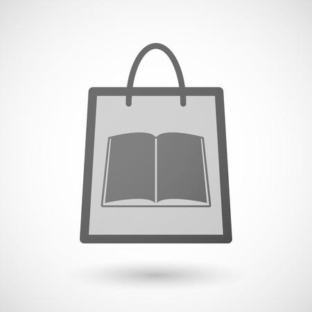 shopping bag icon: Illustration von einer Einkaufstasche Symbol mit einem Buch Illustration